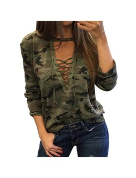 Oumy Women Camo Printed Laces Bandage Plunge V Neck Tops by Oumy