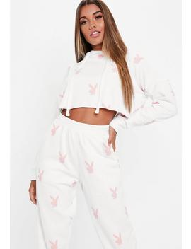 Playboy X Missguided White Repeat Print Cropped Hoodie by Missguided