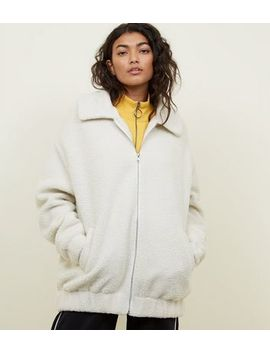 White Faux Teddy Fur Bomber Jacket by New Look