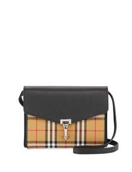 Macken Small Check/Leather Shoulder Bag by Burberry