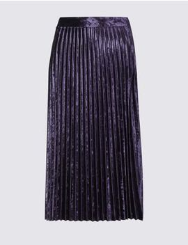 Velvet Pleated Midi Skirt by Marks & Spencer