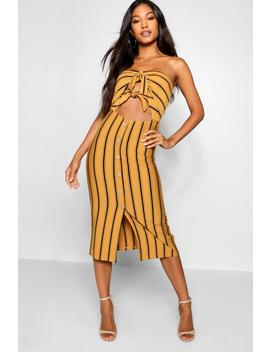 Stripe Knot Button Front Midi Dress by Boohoo