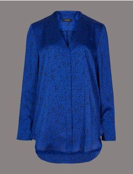 Printed Satin Notch Neck Long Sleeve Blouse by Marks & Spencer
