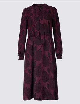 Jacquard Print Long Sleeve Shift Midi Dress by Marks & Spencer