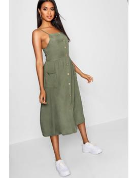 Horn Button Through Dress by Boohoo