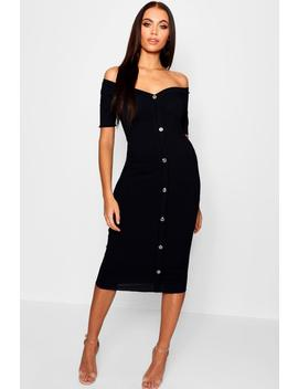 Rib Off The Shoulder Button Midi Dress by Boohoo