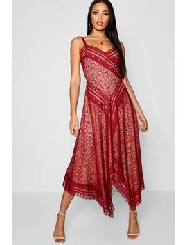 Premium Eyelash Lace Asymmetric Hem Midi Dress by Boohoo