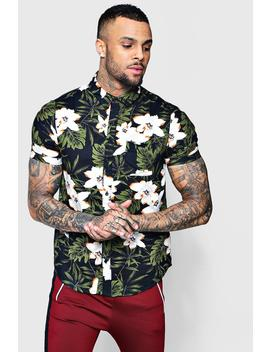 Dark Floral Print Short Sleeve Shirt by Boohoo