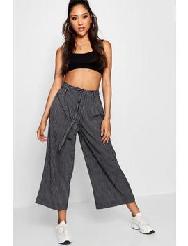 Edwina Stripe Self Belt Woven Culotte Trouser by Boohoo