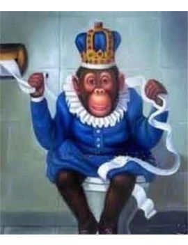 Monkey In The Toilet,Hand Pa<Wbr>Inted Animal Art Oil Painting Wall Decor Canvas by Ebay Seller