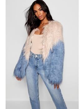 Tall Two Tone Shaggy Faux Fur Jacket by Boohoo