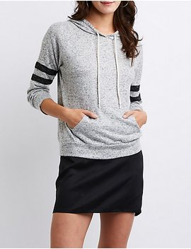 Varsity Striped Drawstring Hoodie by Charlotte Russe