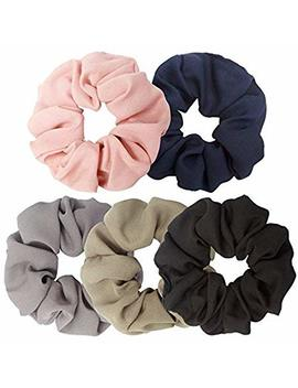 Ondder 5 Pack Large Chiffon Scrunchies Flower Hair Scrunchies Chiffon Scrunchies For Hair Ponytail Holder Bobbles Elastic Colorful Scrunchy Hair Bands Ties,... by Ondder
