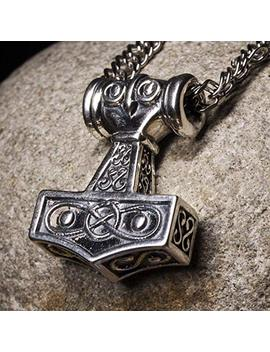Mens Thors Hammer Viking Sterling Silver Pendant Necklace Mjolnir Scandinavian Amulet Nordic Jewelry For Men by Amazon