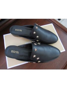 Michael Kors Natasha Admiral Star Studded Stacked Heel Mules Black Size 7.5 7 by Michael Kors