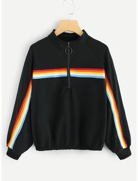Übergroßes Sweatshirt Mit Band Detail Und Reißverschluss by Sheinside