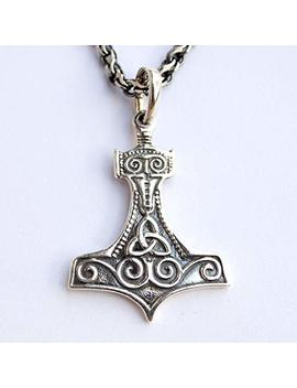 Thors Hammer Necklace For Men Women Sterling Silver Mjolnir Pendant Norse Viking Jewelry Thor Axe by Amazon