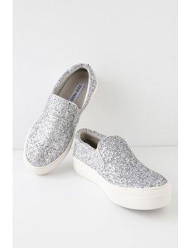 Gills Silver Glitter Flatform Sneakers by Steve Madden