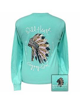 Girlie Girl Wild Heart Cool Mint Preppy Long Sleeve T Shirt by Girlie Girl Originals