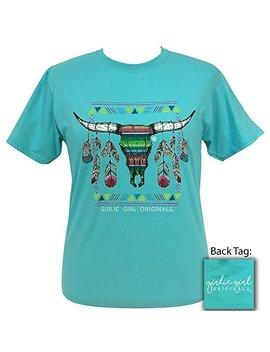 Girlie Girl Serape Steer Scuba Blue Preppy Sport Gray Short Sleeve T Shirt Adult by Girlie Girl Originals