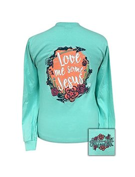 Girlie Girl Love Me Some Jesus! Long Sleeve T Shirt Adult by Girlie Girl Originals