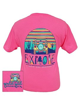 Girlie Girls Explore Neon Pink Preppy Short Sleeve T Shirt Adult by Girlie Girl Originals