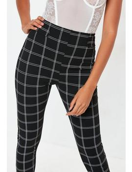 Black Check Slim Leg Trousers by Missguided