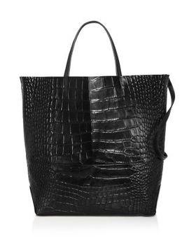 Large Croc Embossed Leather Tote Bag   100 Percents Exclusive by Alice.D
