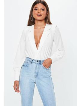Petite White Tux Bodysuit by Missguided