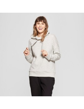 Women's Striped Hooded Sweatshirt   A New Day™ Gray/Cream by A New Day™