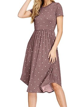 Simier Fariry Women Summer Pleated Polka Dot Pocket Loose Swing Casual Midi Dress by Simier Fariry