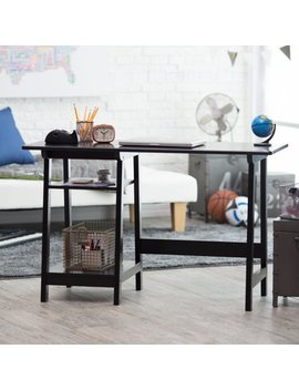 Manhattan Open Computer Desk With Adjustable Shelf   Black by Finley Home