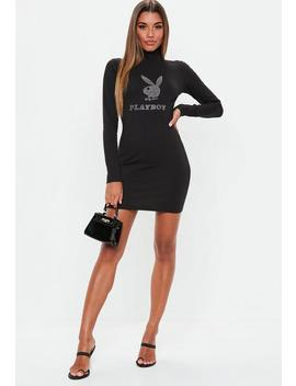 Playboy X Missguided Black Diamante Mini Dress by Missguided