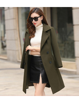 Vogor Sean Winter Woman Wool Coats Warm 2018 Slim Fit Fashion Casual Office  Blends Womans Wool Coat Jacket Khaki Army/Green by Vogorsean