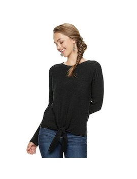 Juniors' Pink Republic Tie Front Sweater by Kohl's
