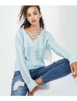 Cable Lace Up Sweater by Aeropostale