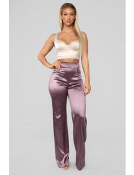 Make A Wish Stretch Satin Pant   Lavender by Fashion Nova