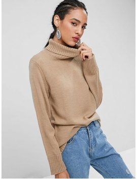 Plain Turtleneck Sweater   Tan M by Zaful