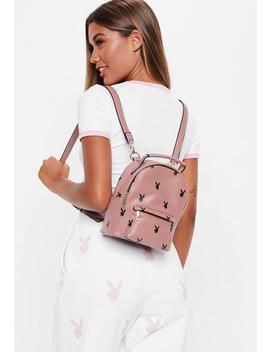 Playboy X Missguided Mauve Logo Mini Backpack by Missguided