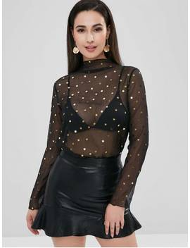 Zaful Stars See Thru High Neck Blouse   Black Xl by Zaful