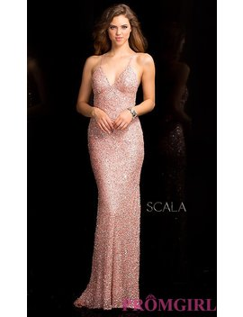 Long V Neck Sequin Dress With Open Back By Scala by Scala