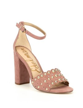 Yaria Studded Suede Ankle Strap Block Heel Dress Sandals by Sam Edelman