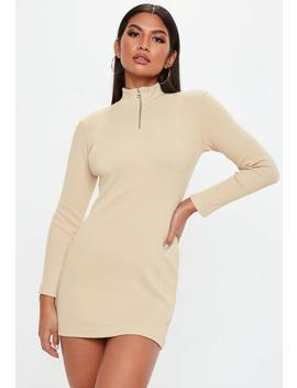 Petite Sand Zip Front Ribbed Bodycon Dress by Missguided
