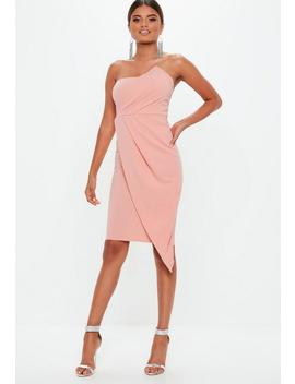 Blush Bandeau Origami Midi Dress by Missguided