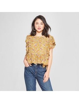 Women's Floral Print Short Sleeve Top   Lily Star (Juniors') Vintage Yellow by Lily Star