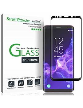 "Galaxy S9 Screen Protector Glass, Am Film 3 D Curved Dot Matrix Full Screen Samsung Galaxy S9 Tempered Glass Screen Protector (5.8"") 2018 With Easy Application Tray (Not S9 Plus) (Case Friendly) by Am Film"