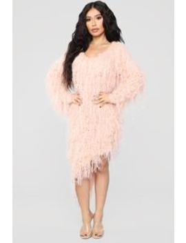 Serenity Fringe Sweater Dress   Blush by Fashion Nova