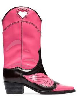Pink And Black Marlyn 45 Leather Cowboy Boots by Ganni