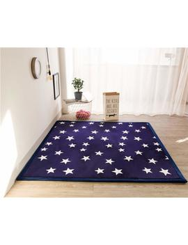 Maxyoyo Memory Foam Coral Velvet Carpet Tatami Mat Thick Rug For Kid Room Decor Navy Blue Star Play Mat For Boys Girls, Ultra Soft Floor Mat/Crawling Mat Thickness:2 Cm, 79 By 118 Inch by Maxyoyo