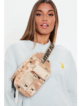 Playboy X Missguided Nude Utility Logo Printed Bumbag by Missguided